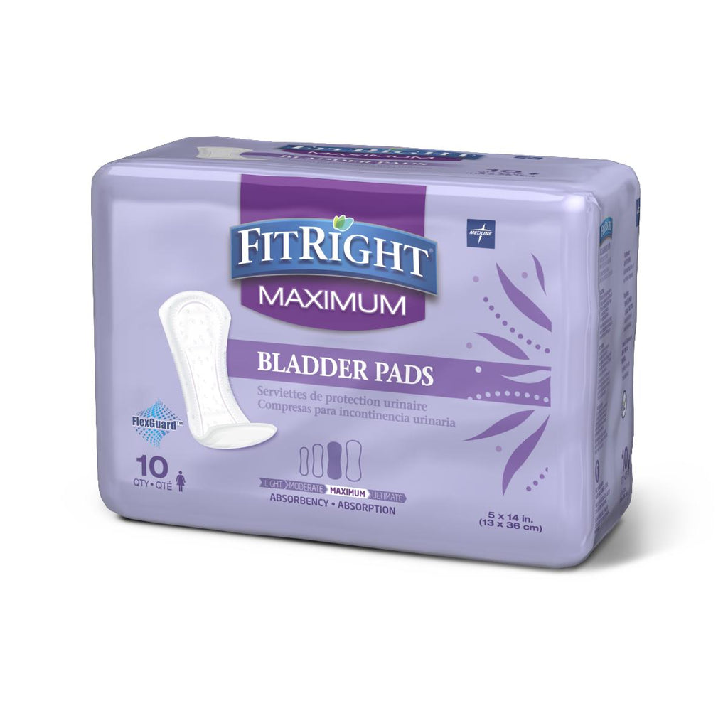 "FitRight Bladder Control Pads, Maximum, 5""x14"" (case of 120)"