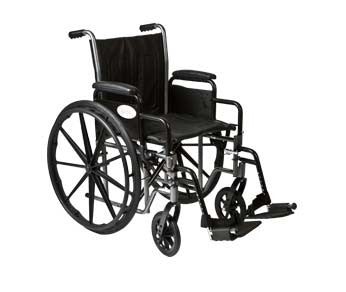 "K2-Lite Wheelchair with Removable Desk-Length Arms and Swing-Away Footrest, 16"" Seat Width"