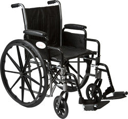"K3-Lite Wheelchair with Removable Desk-Length Arms and Swing-Away Footrest, 18"" Seat Width"