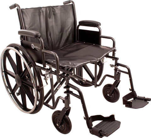 "K7-Lite Wheelchair with Removable Desk-Length Arms and Swing-Away Footrest, 24"" Seat Width"