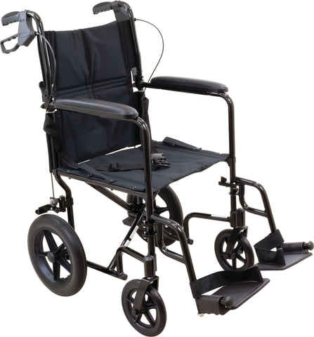 Transport Chair with 12-inch Rear Wheels, Aluminum Frame, Fixed Full-Length Arms and Swing-Away Footrests with Heel Loops
