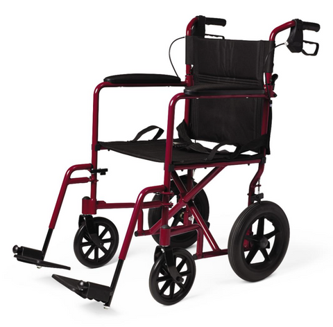 "Medline Basic Aluminum Transport Chair with 12"" Wheels, Red"