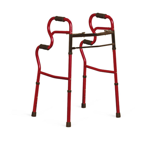 Adult Stand-Assist 3-in-1 Folding Two-Button Walker,Red (case of 2)