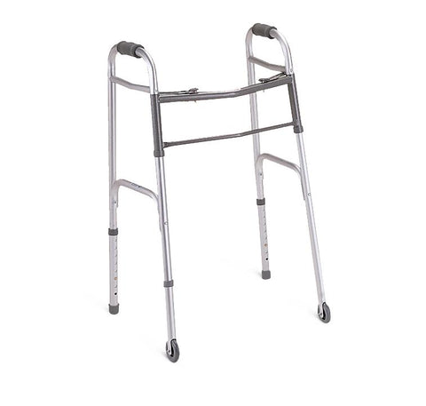 "Two-Button Folding Walkers with 3"" Wheels (1EA)"