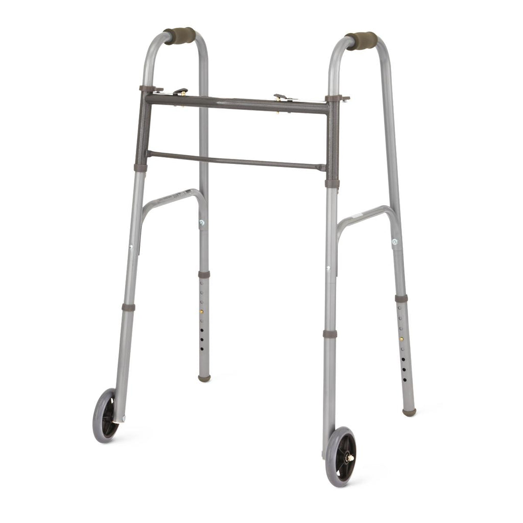 "Two-Button Folding Walkers with 5"" Wheels (1EA)"