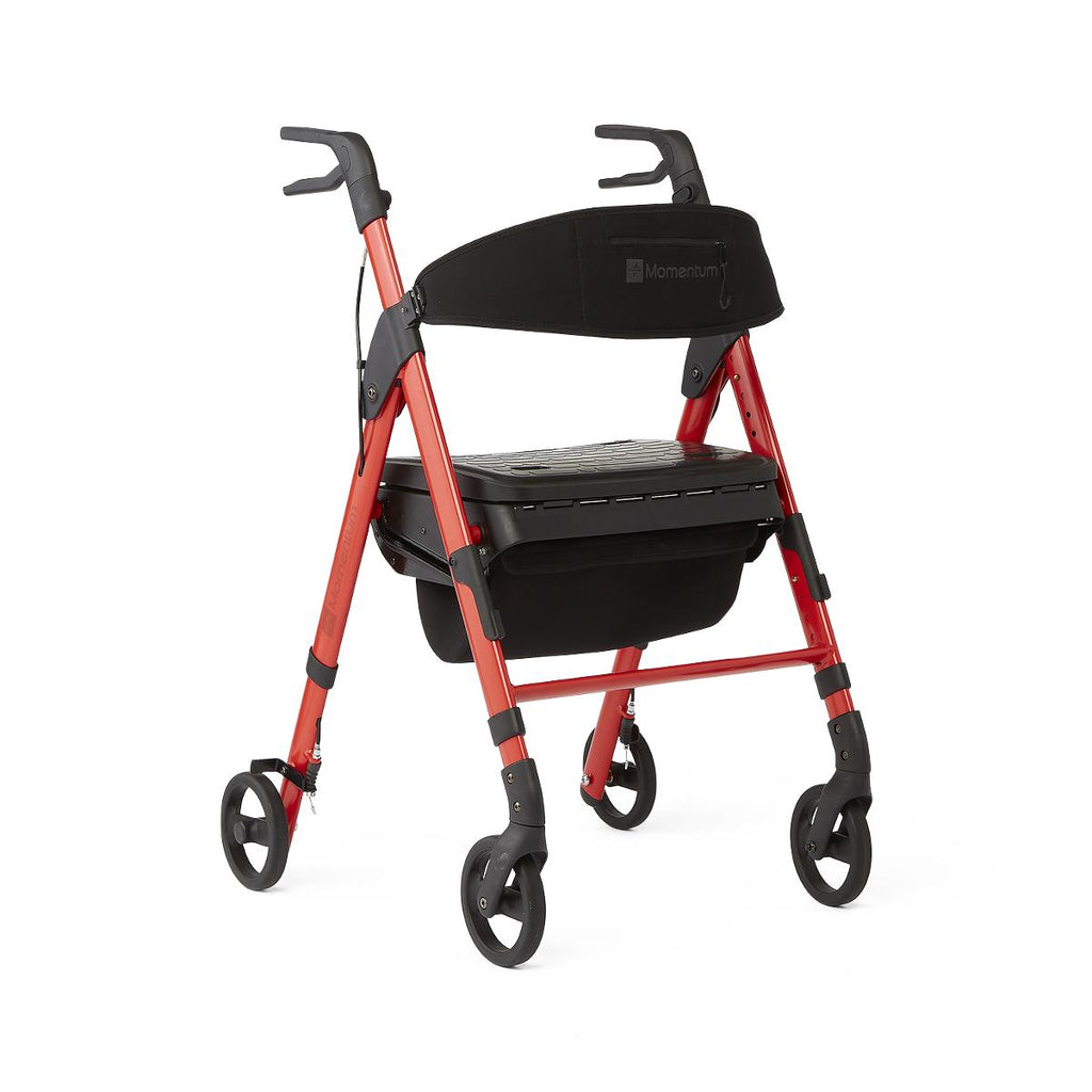 Medline Momentum Rollator with Height-Adjustable Seat and Handles, Red (1EA)