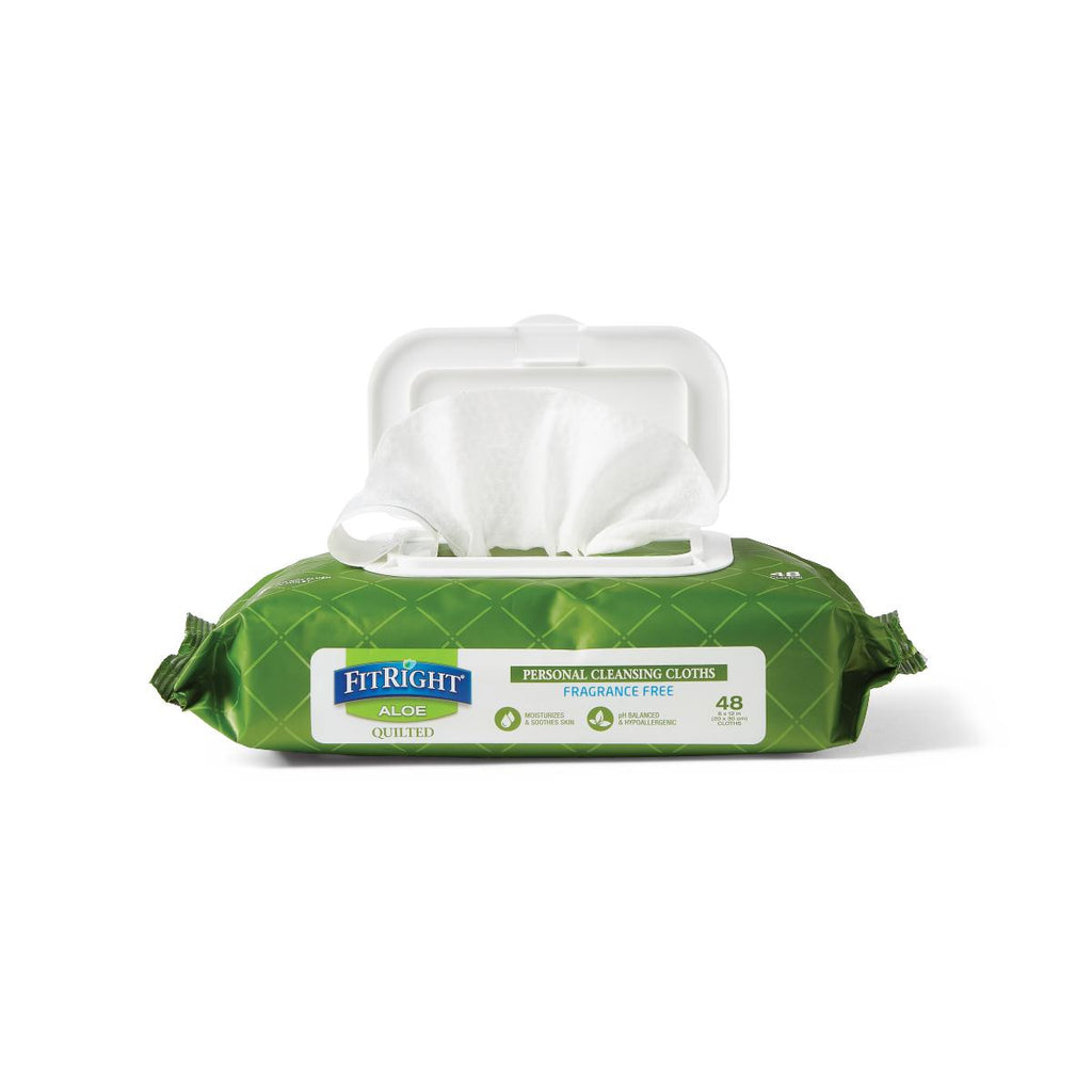 "Medline FitRight Aloe Quilted Personal Cleansing Wipes, 8""x12"" (case of 12)"