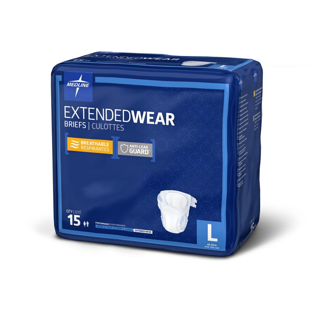 "Medline Extended Wear High-Capacity Adult Incontinence Briefs, Large, 41""-59"" (case of 60)"