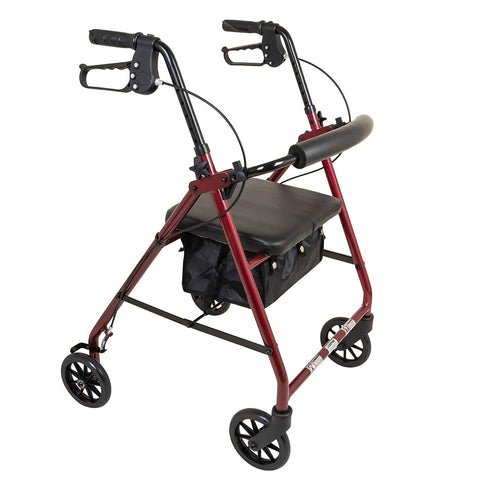 "ProBasics Aluminum Rollator with 6"" Wheels, Burgundy (1EA)"