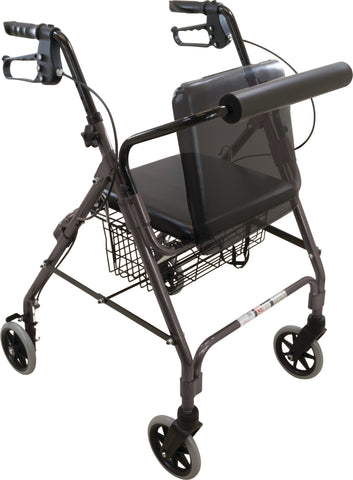 "Deluxe Rollator with Padded Backrest and Seat, 6"" Wheels, Granite Gray"
