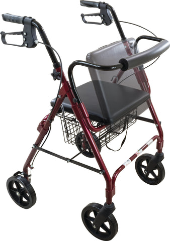 "Deluxe Rollator with 8"" Wheel, Curved, Burgundy"
