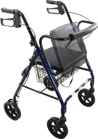 "Deluxe Rollator with 8"" Wheel, Curved, Blue"