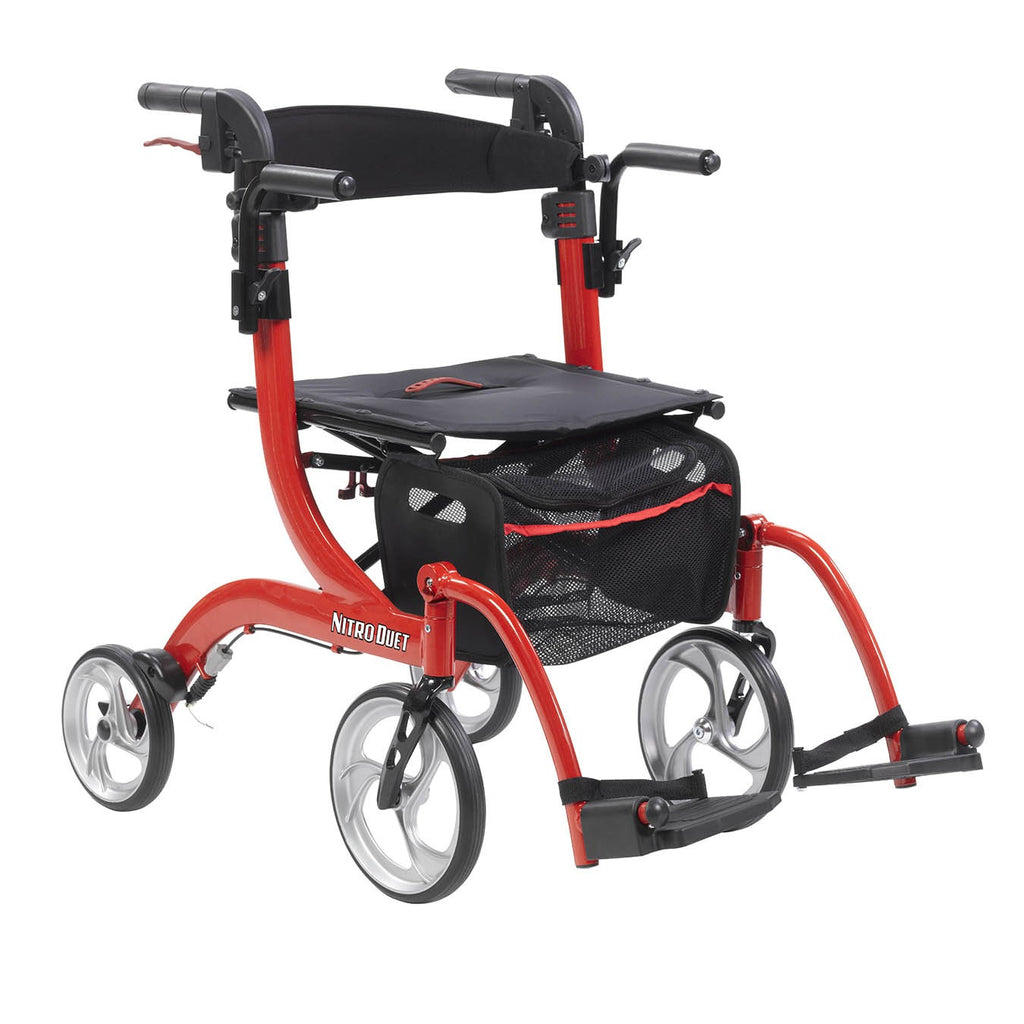 Drive Medical Nitro Duet Dual Function Transport Wheelchair and Rollator Rolling Walker, Red