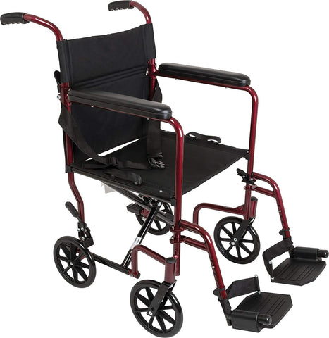 ProBasics Aluminum Transport Chair with Footrests, Burgundy (1EA)