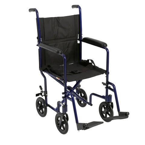 "Lightweight Transport Wheelchair, 19"" Seat, Blue"