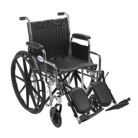 "Chrome Sport Wheelchair, Detachable Desk Arms, Elevating Leg Rests, 18"" Seat"