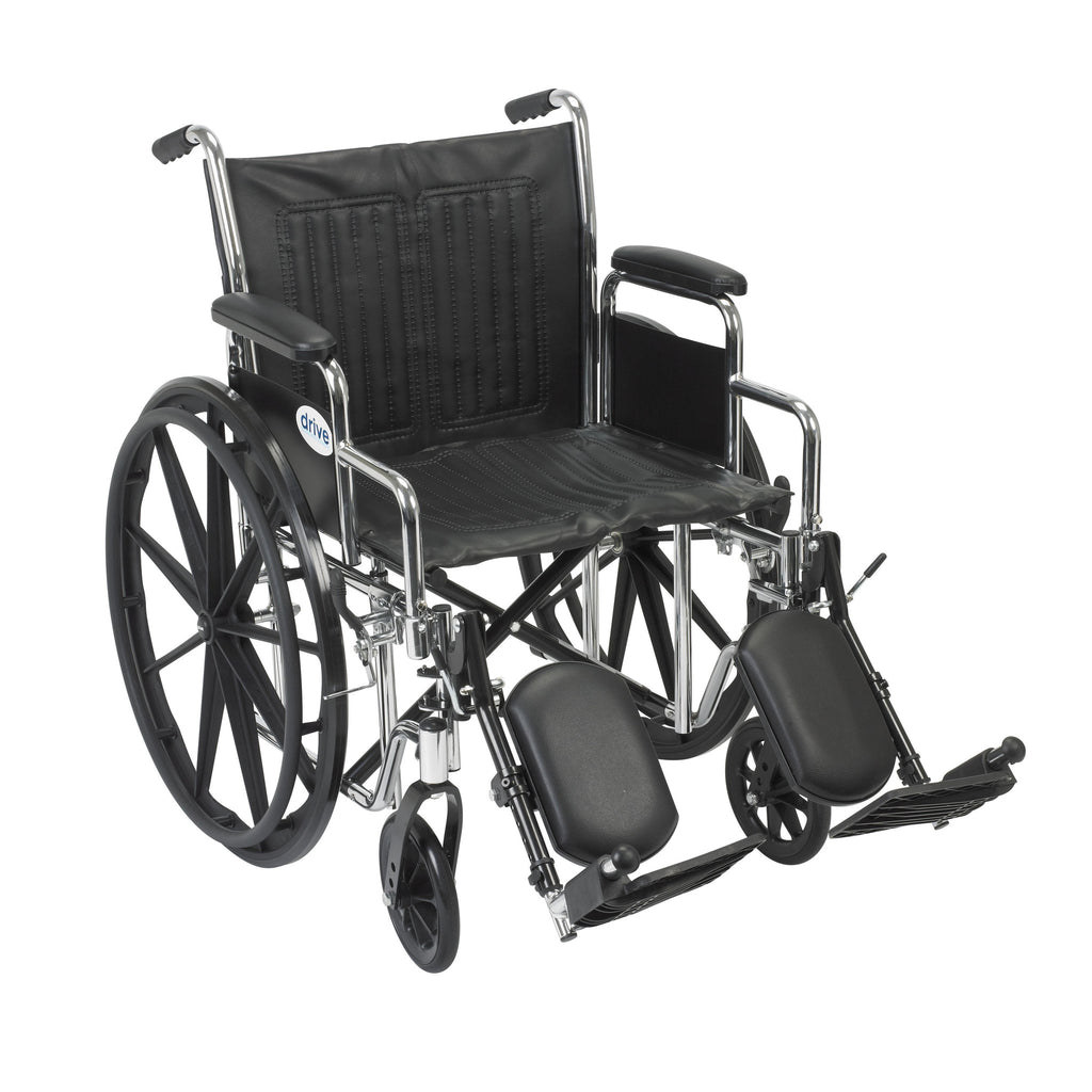 "Chrome Sport Wheelchair, Detachable Desk Arms, Elevating Leg Rests, 20"" Seat"