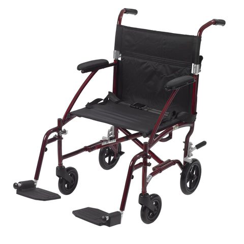 Fly Lite Ultra Lightweight Transport Wheelchair, Burgundy
