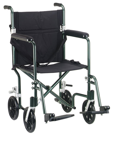 "Flyweight Lightweight Folding Transport Wheelchair, 17"", Green Frame, Black Upholstery"