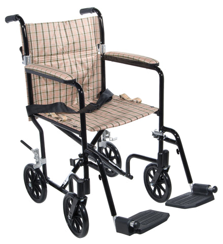 "Flyweight Lightweight Folding Transport Wheelchair, 19"", Black Frame, Tan Plaid Upholstery"