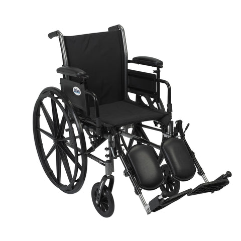 Cruiser III Light Weight Wheelchair with Flip Back Removable Arms, Adjustable Height Desk Arms, Elevating Leg Rests, 20""