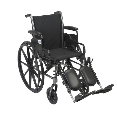 "Cruiser III Light Weight Wheelchair with Flip Back Removable Arms, Desk Arms, Elevating Leg Rests, 20"" Seat"