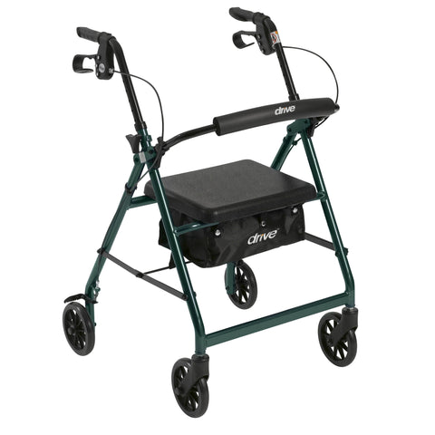 "Walker Rollator with 6"" Wheels, Fold Up Removable Back Support and Padded Seat, Green"