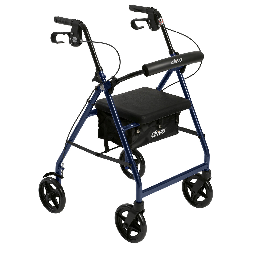 Aluminum Rollator with Fold Up and Removable Back Support and Padded Seat, Blue