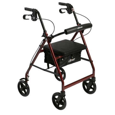 Aluminum Rollator with Fold Up and Removable Back Support and Padded Seat, Red