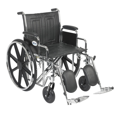 "Sentra EC Heavy Duty Wheelchair, Detachable Desk Arms, Elevating Leg Rests, 20"" Seat"