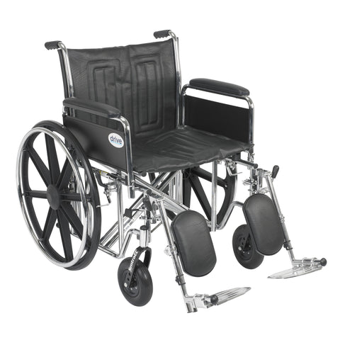 "Sentra EC Heavy Duty Wheelchair, Detachable Full Arms, Elevating Leg Rests, 22"" Seat"