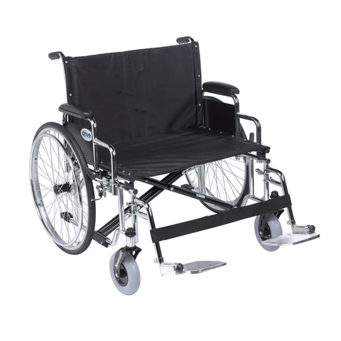 "Sentra EC Heavy Duty Extra Wide Wheelchair, Detachable Desk Arms, Swing away Footrests, 28"" Seat"