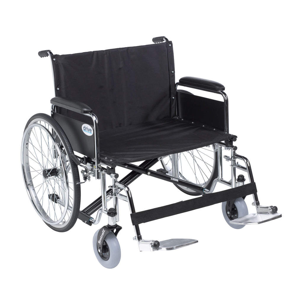 "Sentra EC Heavy Duty Extra Wide Wheelchair, Detachable Full Arms, Swing away Footrests, 28"" Seat"