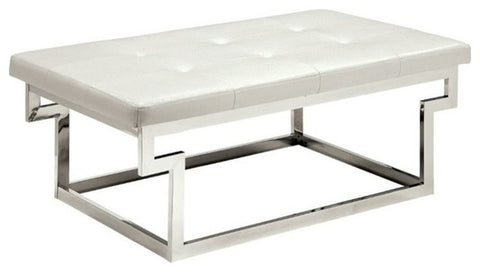 Contemporary Faux Leather Tufted Cushion Ottoman Bench
