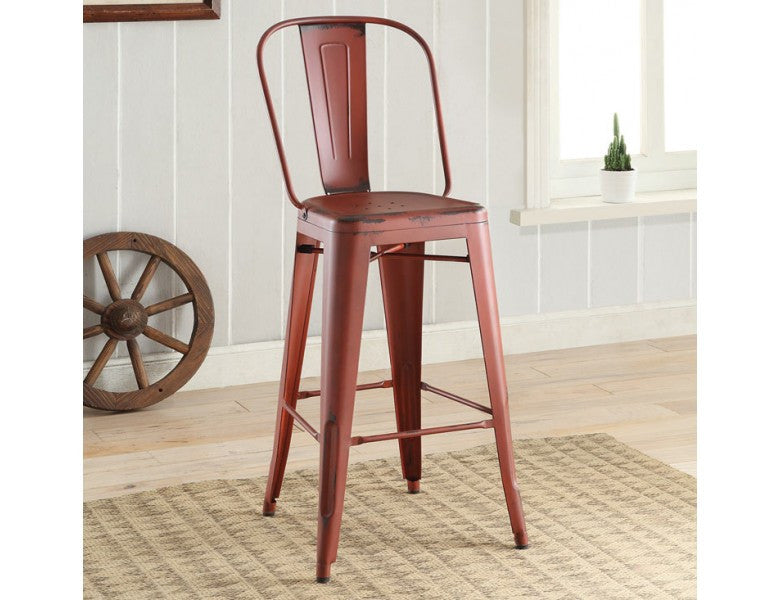 Industrial Red Metal Bar Stool Set Of 2 Interior Gallerie