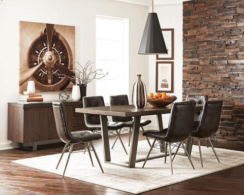 Hutchinson Dining Set - Aged Concrete/Gunmetal