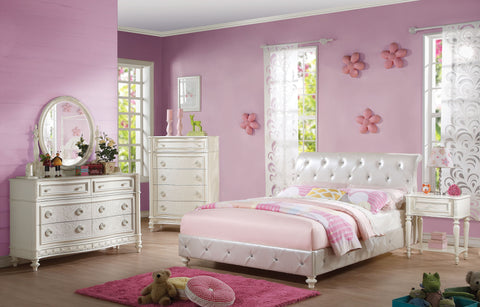 Pearl White PU Ivory Twin Bed