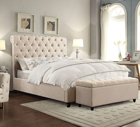 CHESTERFIELD TUFTED BED W/ SCROLLED HEADBOARD & NAIL HEAD ACCENT  - SAND LINEN FABRIC