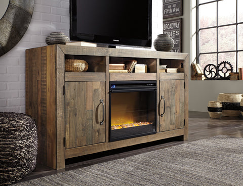 Rustic Planked Top tv Stand with fireplace insert