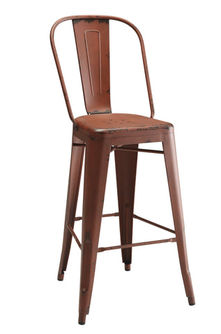 Industrial Red metal Bar Stool, Set of 2