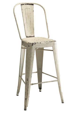 Industrial White metal Bar Stool, Set of 2