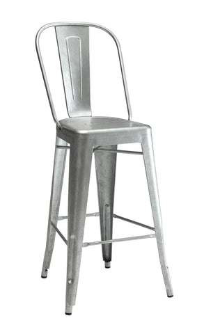 Industrial galvanized metal Bar Stool, Set of 2