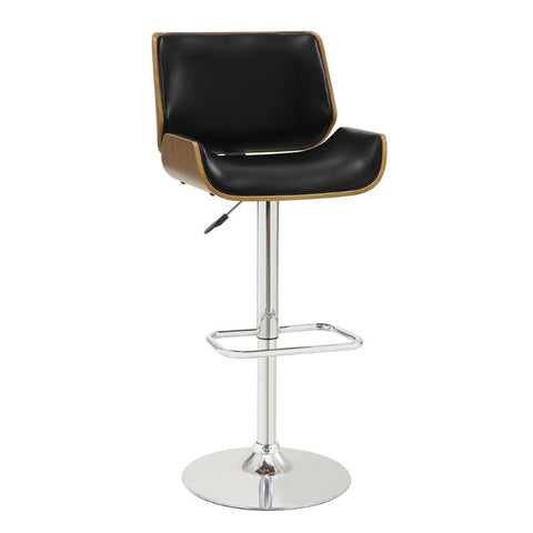 Ador Walnut and Black Adjustable Swivel Bar Stool