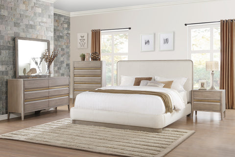 Aristide Modern Fabric Platform 4 Pc Bedroom Set