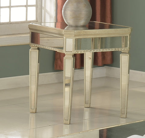 Silver Mirrored With Gold Brushing End Table
