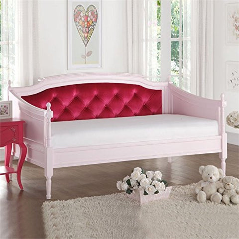 Pink Finish Daybed with Red Velvet Fabric
