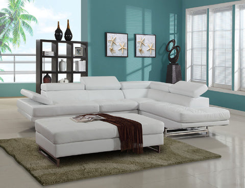 sectional With Adjustable Headrests, in White