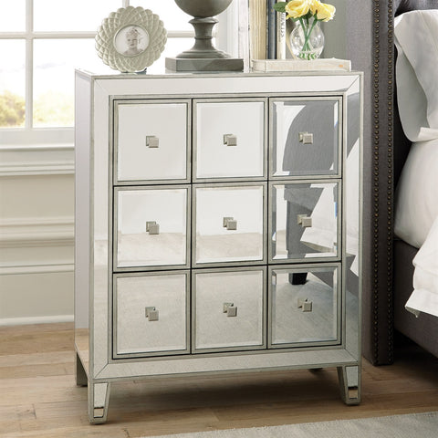 Mirrored 9 Drawer Accent Cabinet