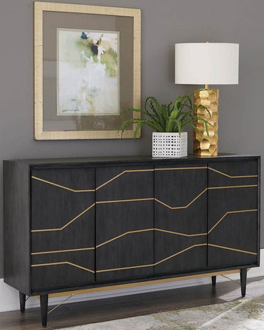 Evianna Graphite Wood Finish Cabinet