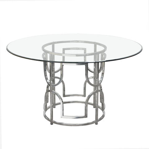 Avalon Glass Top Round Dining Table W/ stainless Frame